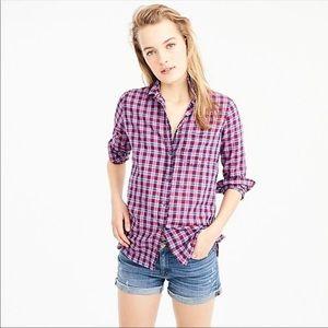 J Crew Boy Shirt in Purple Twilight Plaid Button 2